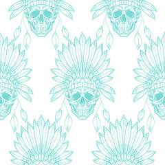 Blue skull with indian feather hat. Vector seamless pattern