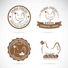 Vector of a hen label design on white background, Vector chicken