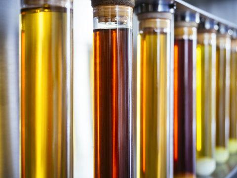 Ethanol oil test in Tube beaker experiment fuel liquid