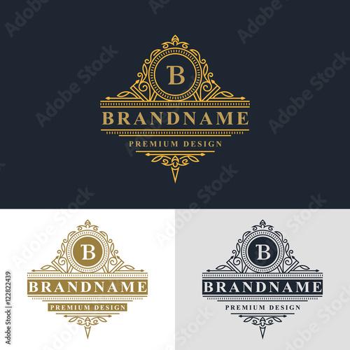 Monogram design elements, graceful template. Elegant line art logo ...