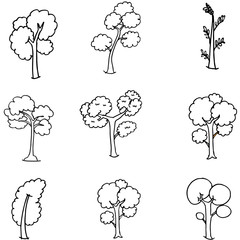 Doodle oof different tree set hand draw