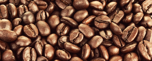 Closeup of roasted coffee beans, a background