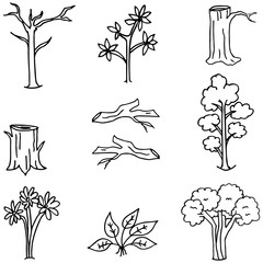 Doodle of tree and wood collection