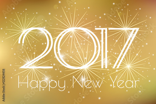 happy new year 2017 card with gold fireworks glowing fire on a gold background poster