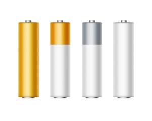 Set of White Golden Yellow Silver Gray Alkaline AA Batteries