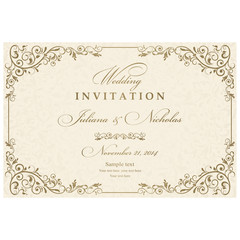 Invitation cards in an old-style beige and gold