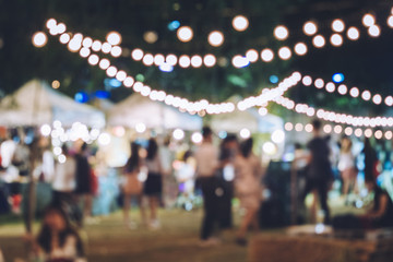 Obraz Festival Event Party with Hipster People Blurred Background - fototapety do salonu