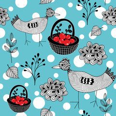 Cold winter seamless pattern with white snowballs and doodle birds.