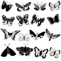 Black vector collection of different butterflies