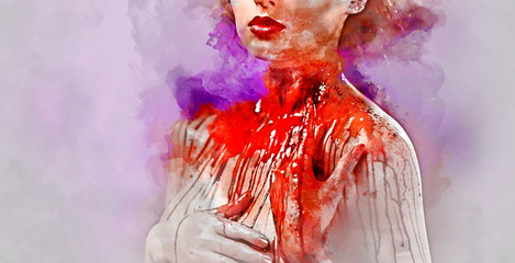 Young woman's body covered with a blood.  Digital watercolor pai