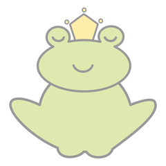 cute cartoon lovely prince frog vector illustration isolated on white background