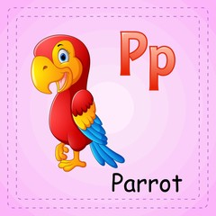 Animals alphabet: P is for Parrot