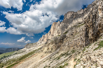 Mountain view of  Dolomites, Rosengartengruppe South Tyrol/ Italy, Europe. Dramatic scene. Beauty world.