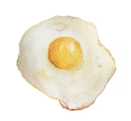 Watercolor fried egg on white background. Breakfast meal. Healthy and nutricious food for morning.