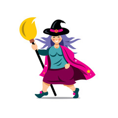 Vector Halloween Witch with broomstick Cartoon Illustration.