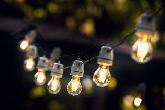 party string lights hanging in a line