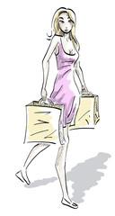 Vrouw met winkeltassen