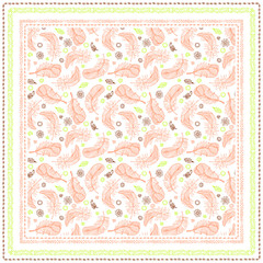 Bandana print with design for silk neck scarf. Feathers and Paisley patterns.Pink warm colors.Traditional ethnic pattern Paisley. Print in 4 colors for textiles, fabrics, home design.