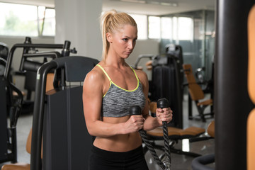 Fitness Woman Doing Heavy Exercise For Biceps