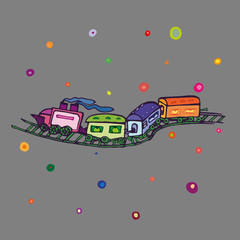Children style drawing of toy train. Toy railroad set with steam locomotive, train cars and rails. Vector Illustration