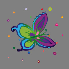 Children style drawing of butterfly. Flying butterfly with large colorful wings. Vector Illustration