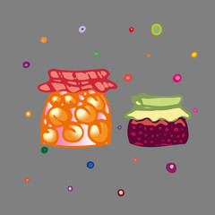 Children style drawing of glass jam jars. Grandma's tasty jam with peaches or apricots and cherries. Vector Illustration