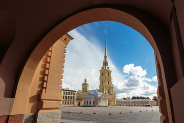 Russia. St. Petersburg. View of Peter and Paul Cathedral.