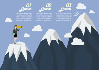 Business woman looking for mountain peak infographic