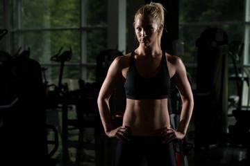 Siluet Healthy Woman Posing In The Gym