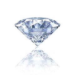Diamant auf Weiß mit Spiegelung