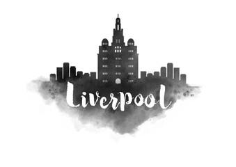 Watercolor Liverpool City Skyline