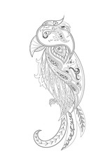 Drawing doodle parrot for coloring page, shirt design effect