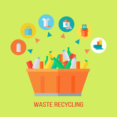 Waste Recycling Process. Rubbish Bin