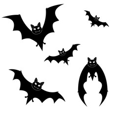 Big set of black silhouettes of bats for Halloween design, vector