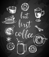 But first coffee card. Modern calligraphy with doodle coffee pattern. Hand drawn lettering. Isolated on white background. Vector illustration