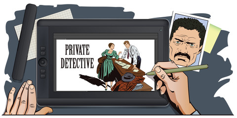 People in retro style. Private detective and girl.