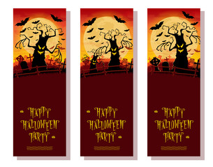Set Halloween banners. Scary monsters trees on cemetery backdrop moon, bats and graves. Concept for flyer, poster, cards or invites on party. Cartoon style. Vector. Isolated on white background