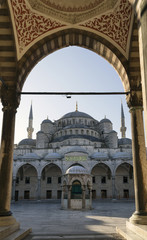 Entrance of Sultan Ahmed Mosque (Blue Mosque), Istanbul, Turkey.