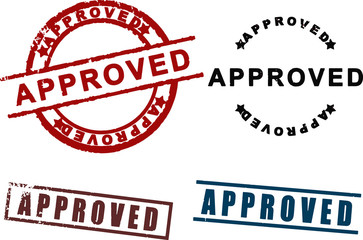 Approved sign rubber stamp set vector