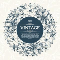 Vintage ornamental frame floral background design