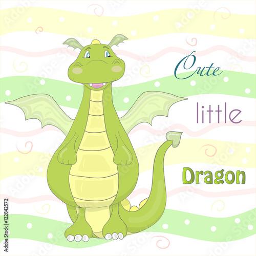 Cute little dragon in cartoon style. Sample comic vector illustration.