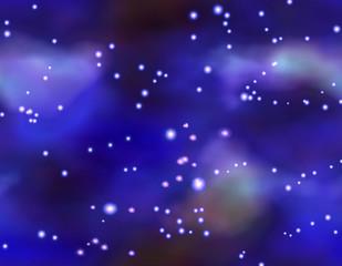 Night winter sky with glowing constellation. Dark blue sky with glowing stars and nebula