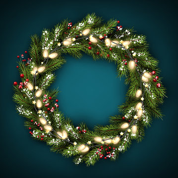 Christmas wreath with lights.