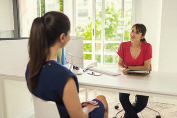 Appointment with woman business manager. Woman in job interview