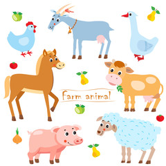 Hen. Goat. Goose. Horse. Cow. Pig. Sheep. Farm Animals. Pets. Animals On A White Background. Vector Illustration. Farm Animals For Sale. Farm Animals Toys. Farm Animals For Kids. Farm Animals Babies.