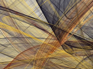 Abstract fractal with a dark yellow curved lines and waves