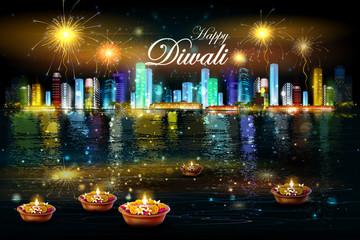 Floating diya with flower for Happy Diwali background