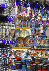 Classical Turkish ceramics on the market Grand Bazaar.