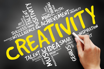 Creativity word cloud, business concept on blackboard