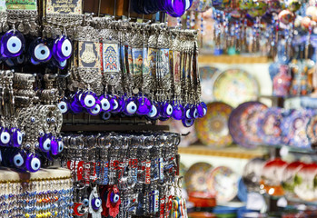 Turkish blue souvenirs with eyes in the Grand Bazaar of Istanbul